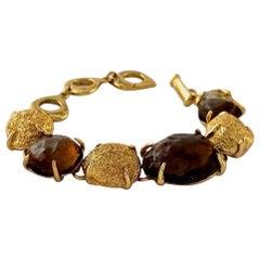 Vintage YVES SAINT LAURENT Ysl Robert Goossens Stone Nugget Bracelet