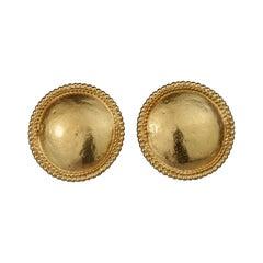 Vintage YVES SAINT LAURENT Ysl Round Ball Trim Disc Earrings