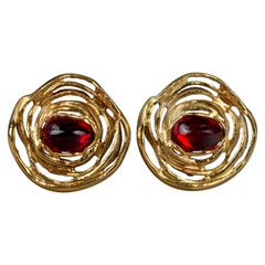 Vintage YVES SAINT LAURENT Ysl Ruby Flower Earrings