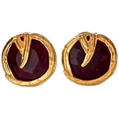 Vintage YVES SAINT LAURENT Ysl Ruby Red Faceted Gilt Earrings