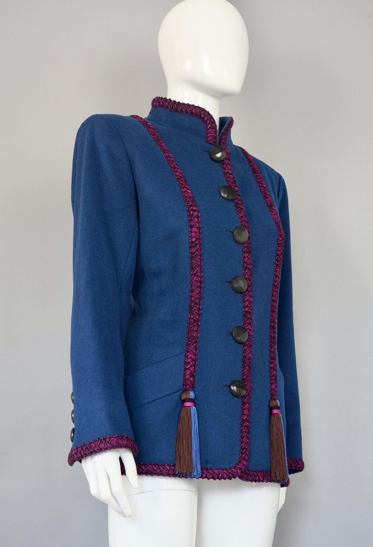 Vintage YVES SAINT LAURENT Ysl Russian Passementerie Tassel Jacket  Measurements taken laid flat, please double bust and waist: Shoulders: 17.32 inches (44cm) Sleeves: 23.22 inches (59 cm) Bust: 20.07 inches (51 cm) Waist: 18.11 inches (46