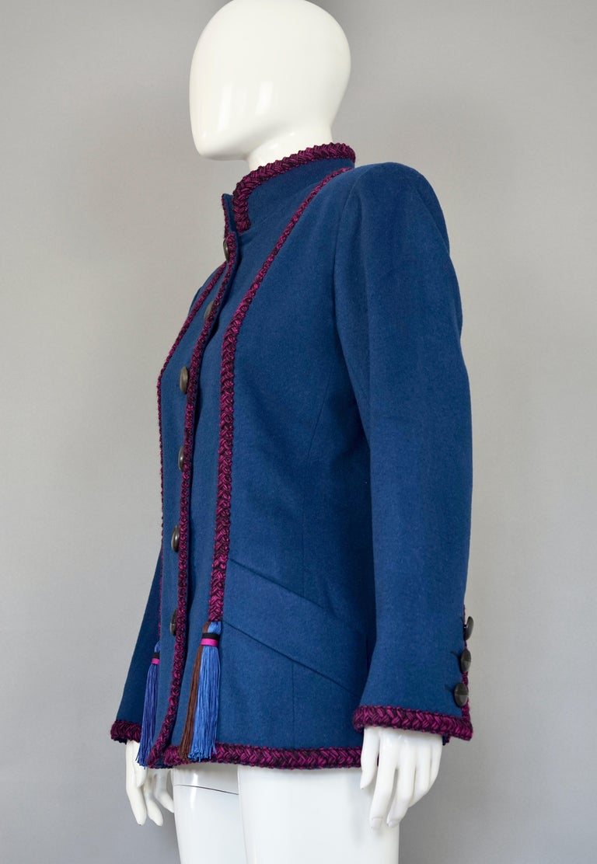 Purple Vintage YVES SAINT LAURENT Ysl Russian Passementerie Tassel Jacket For Sale