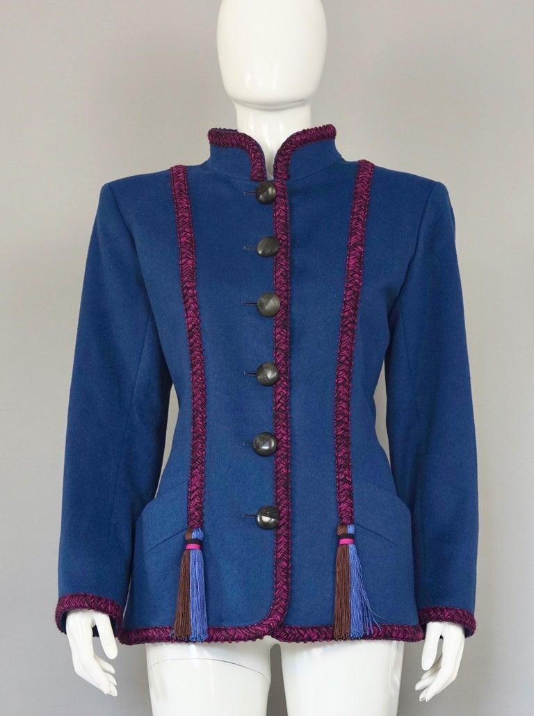 Vintage YVES SAINT LAURENT Ysl Russian Passementerie Tassel Jacket In Excellent Condition For Sale In Kingersheim, Alsace