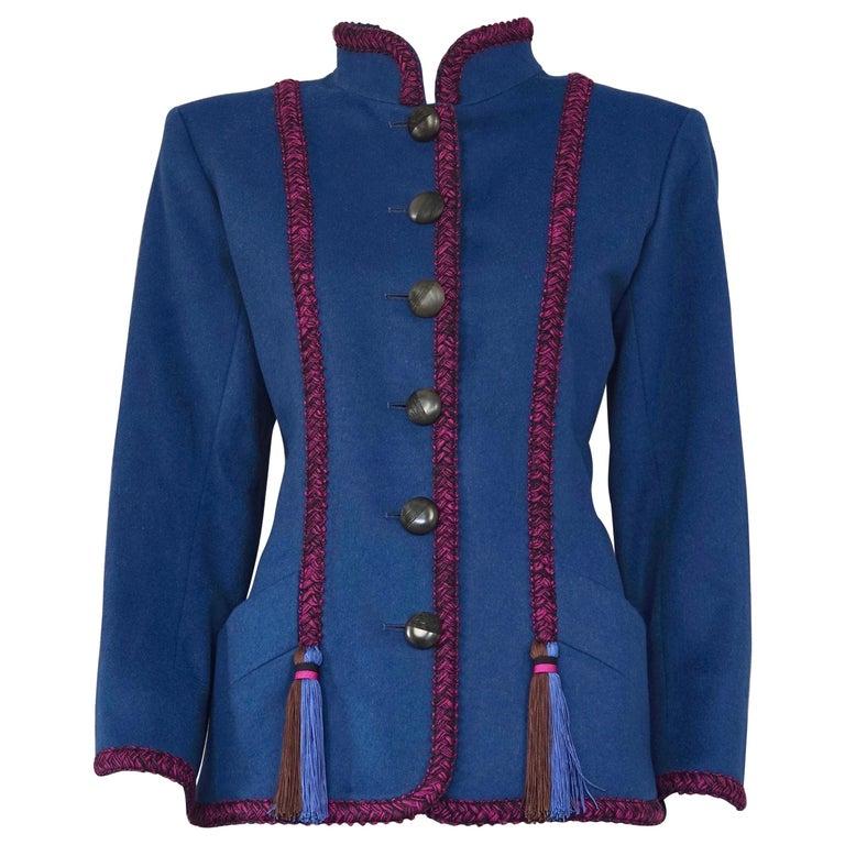 Vintage YVES SAINT LAURENT Ysl Russian Passementerie Tassel Jacket For Sale