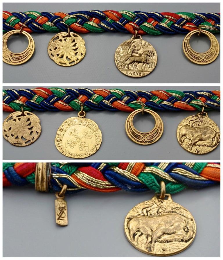 Vintage YVES SAINT LAURENT Ysl Russian Tassel Emblem Coin Charm Passementerie Be For Sale 6