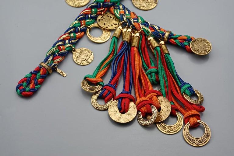 Vintage YVES SAINT LAURENT Ysl Russian Tassel Emblem Coin Charm Passementerie Be For Sale 3