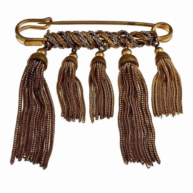 Vintage YVES SAINT LAURENT Ysl Safety Pin Tassel Brooch For Sale 1