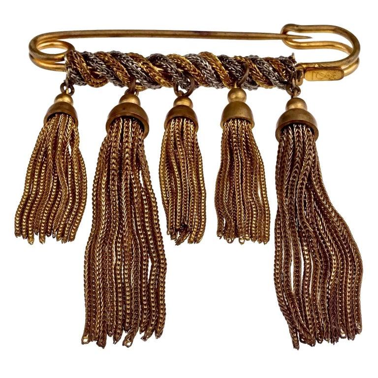 Vintage YVES SAINT LAURENT Ysl Safety Pin Tassel Brooch For Sale