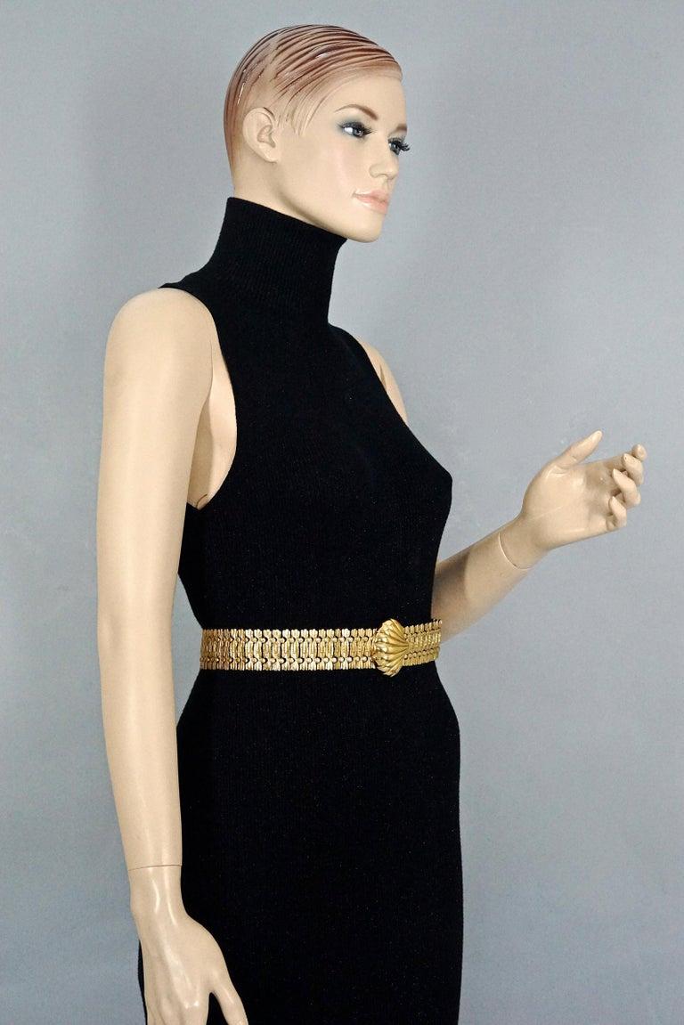 Women's or Men's Vintage YVES SAINT LAURENT Ysl Shell Textured Metal Belt For Sale