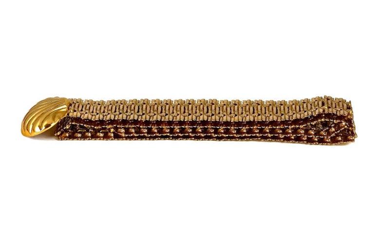 Vintage YVES SAINT LAURENT Ysl Shell Textured Metal Belt For Sale 2