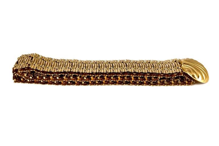 Vintage YVES SAINT LAURENT Ysl Shell Textured Metal Belt For Sale 3