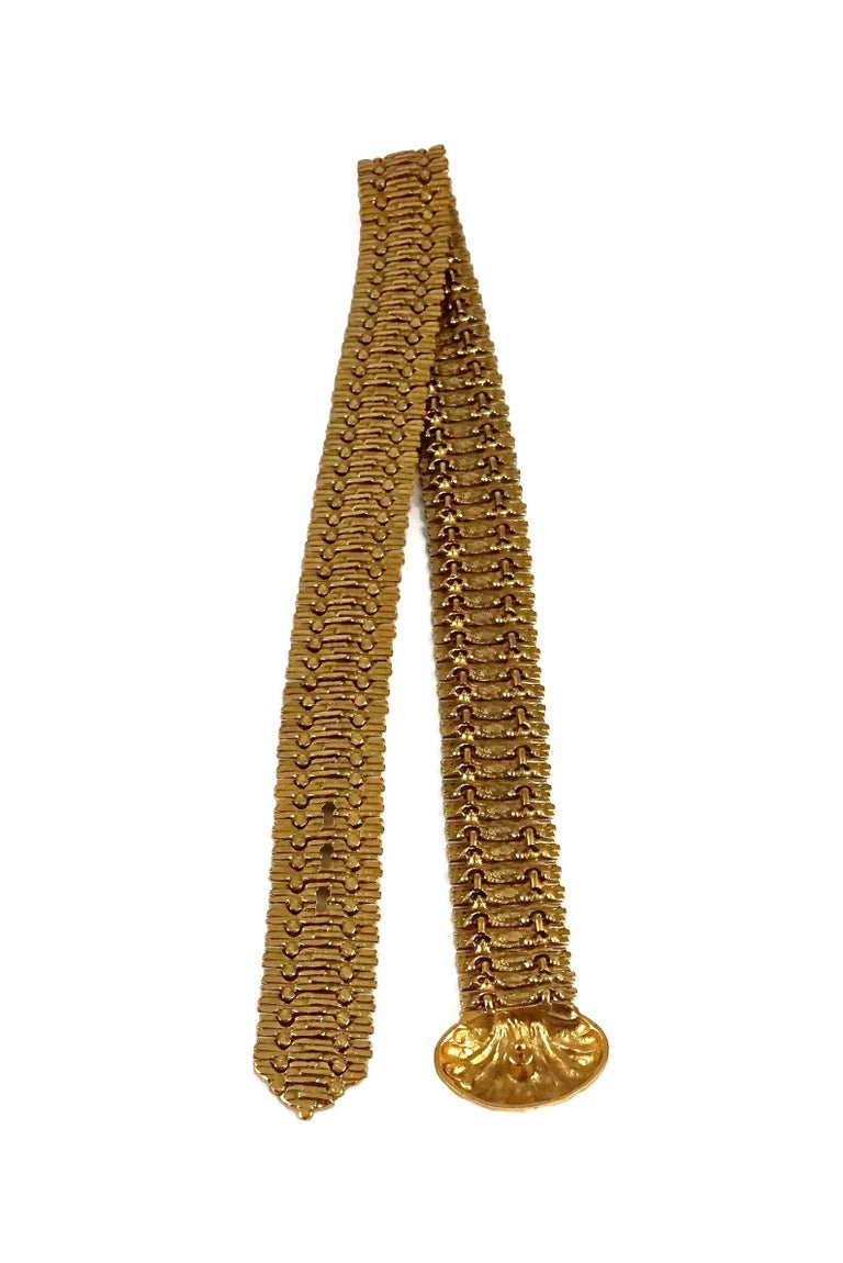 Vintage YVES SAINT LAURENT Ysl Shell Textured Metal Belt For Sale 5