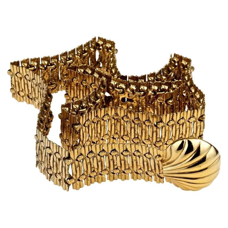 Vintage YVES SAINT LAURENT Ysl Shell Textured Metal Belt For Sale