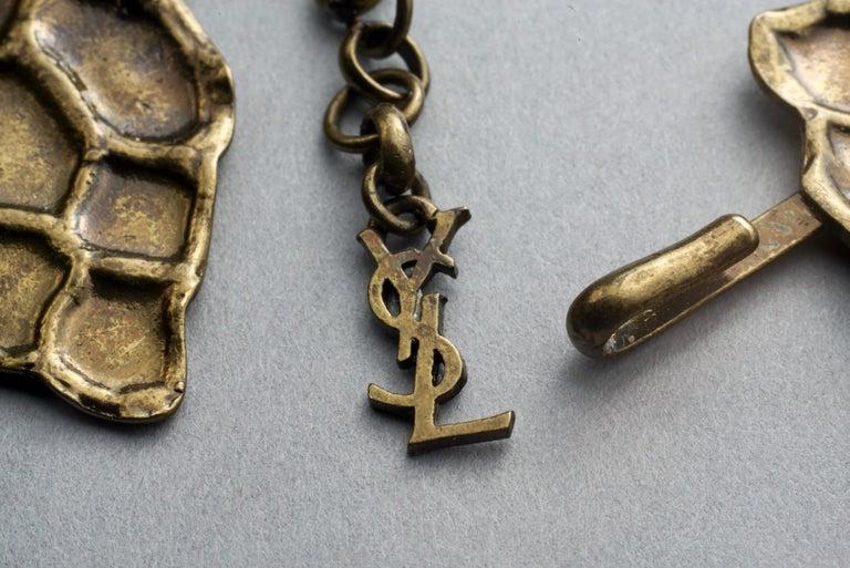 Vintage YVES SAINT LAURENT Ysl Snake Pattern Bronze Link Necklace Belt For Sale 5