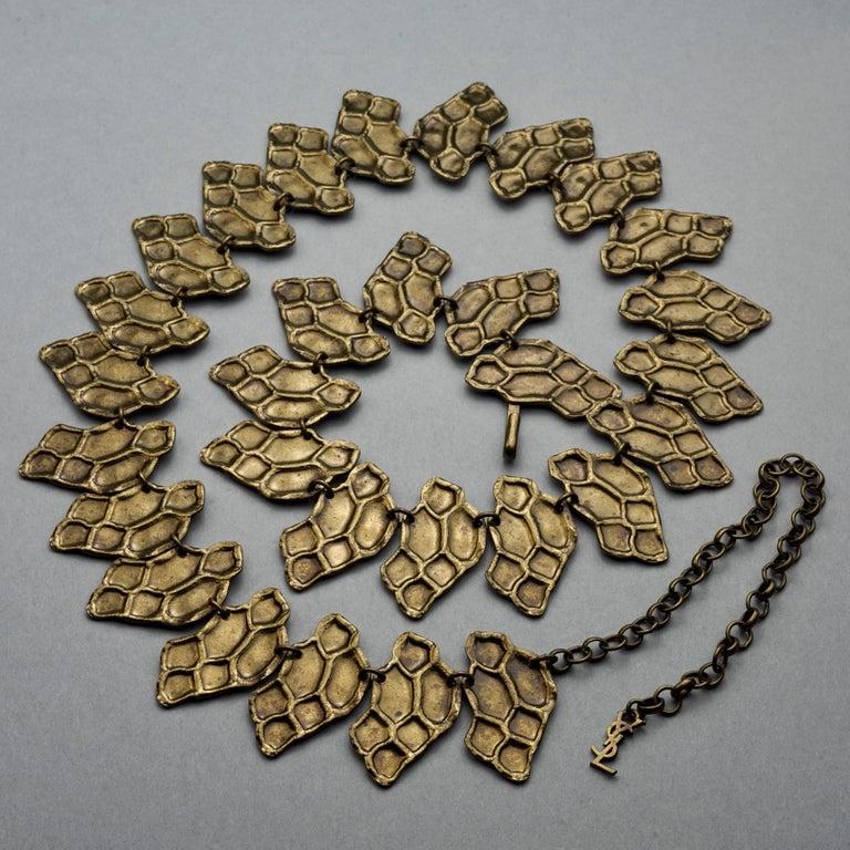 Vintage YVES SAINT LAURENT Ysl Snake Pattern Bronze Link Necklace Belt For Sale 1