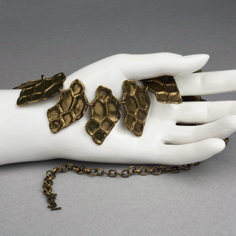 Vintage YVES SAINT LAURENT Ysl Snake Pattern Bronze Link Necklace Belt For Sale 2