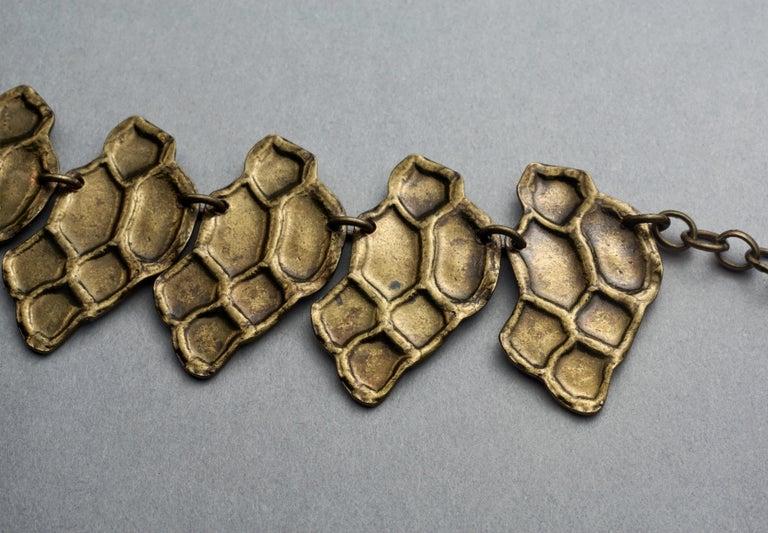 Vintage YVES SAINT LAURENT Ysl Snake Pattern Bronze Link Necklace Belt For Sale 3