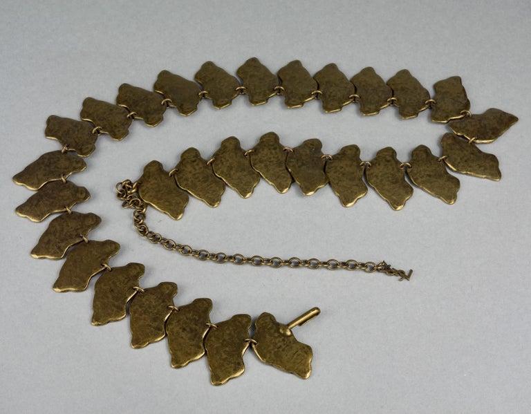 Vintage YVES SAINT LAURENT Ysl Snake Pattern Bronze Link Necklace Belt For Sale 4