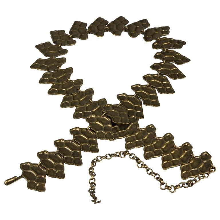Vintage YVES SAINT LAURENT Ysl Snake Pattern Bronze Link Necklace Belt For Sale