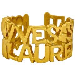 Vintage YVES SAINT LAURENT Ysl Spelled Letter Bracelet Cuff