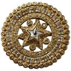 Vintage YVES SAINT LAURENT Ysl Star Rhinestone Medallion Disc Brooch