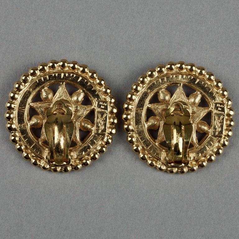 Vintage YVES SAINT LAURENT Ysl Star Rhinestone Medallion Disc Earrings For Sale 6
