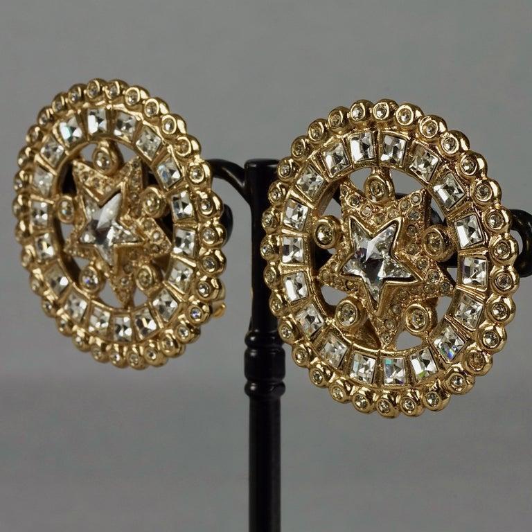Women's Vintage YVES SAINT LAURENT Ysl Star Rhinestone Medallion Disc Earrings For Sale