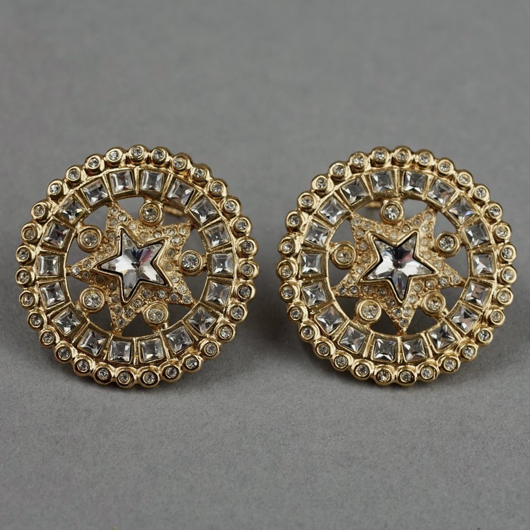 Vintage YVES SAINT LAURENT Ysl Star Rhinestone Medallion Disc Earrings For Sale 1