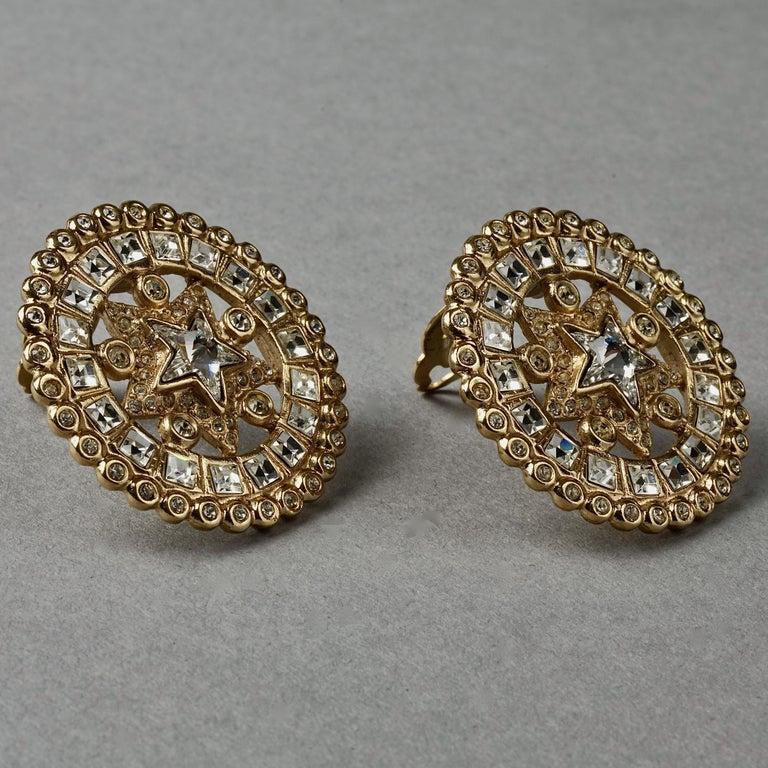 Vintage YVES SAINT LAURENT Ysl Star Rhinestone Medallion Disc Earrings For Sale 2
