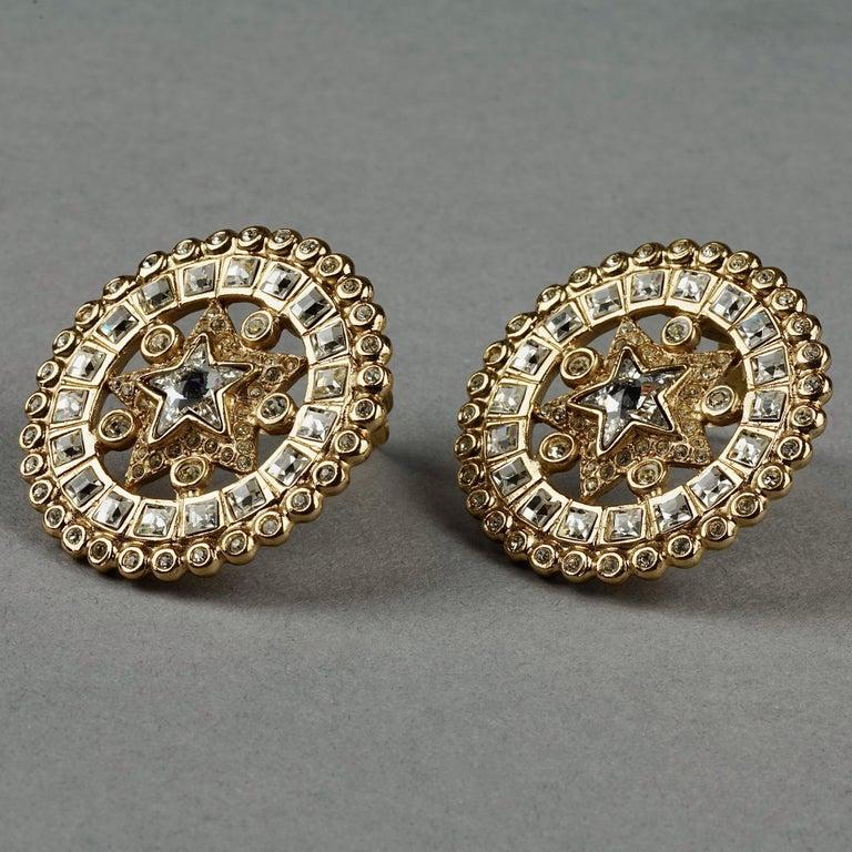 Vintage YVES SAINT LAURENT Ysl Star Rhinestone Medallion Disc Earrings For Sale 3