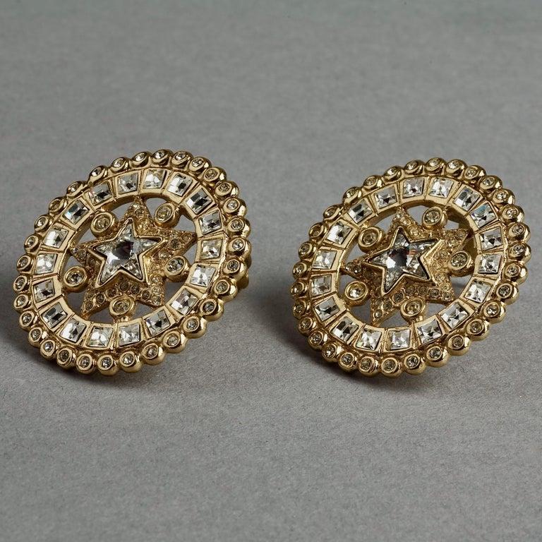 Vintage YVES SAINT LAURENT Ysl Star Rhinestone Medallion Disc Earrings For Sale 4