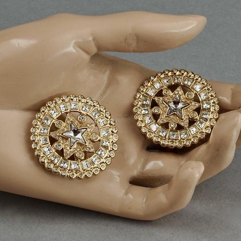 Vintage YVES SAINT LAURENT Ysl Star Rhinestone Medallion Disc Earrings For Sale 5