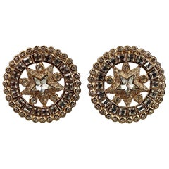 Vintage YVES SAINT LAURENT Ysl Star Rhinestone Medallion Disc Earrings