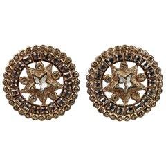 Vintage YVES SAINT LAURENT Ysl Star Rhinestone Medallion Disc Earrings