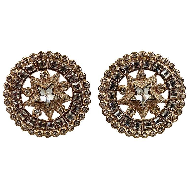 Vintage YVES SAINT LAURENT Ysl Star Rhinestone Medallion Disc Earrings For Sale