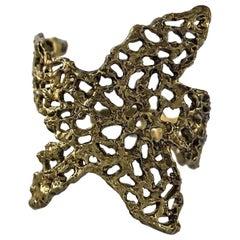 Vintage YVES SAINT LAURENT Ysl Starfish Openwork Textured Cuff Bracelet