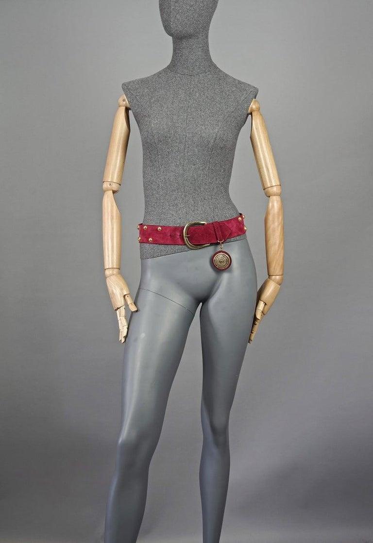 Vintage Yves Saint Laurent Ysl Studded Medallion Red Belt