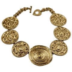 Vintage YVES SAINT LAURENT Ysl Sun Disc Medallion Link Necklace