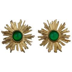 Vintage YVES SAINT LAURENT Ysl Sunburst Emerald Stone Earrings