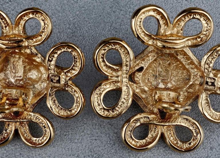 Vintage YVES SAINT LAURENT Ysl Swirl Nugget Earrings For Sale 6
