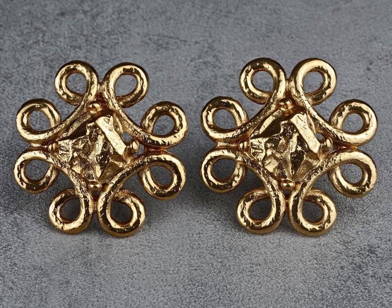 Women's Vintage YVES SAINT LAURENT Ysl Swirl Nugget Earrings For Sale