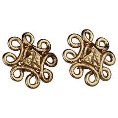 Vintage YVES SAINT LAURENT Ysl Swirl Nugget Earrings