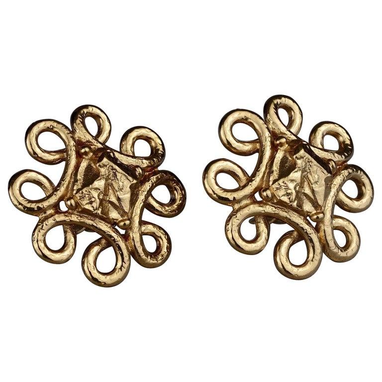 Vintage YVES SAINT LAURENT Ysl Swirl Nugget Earrings For Sale