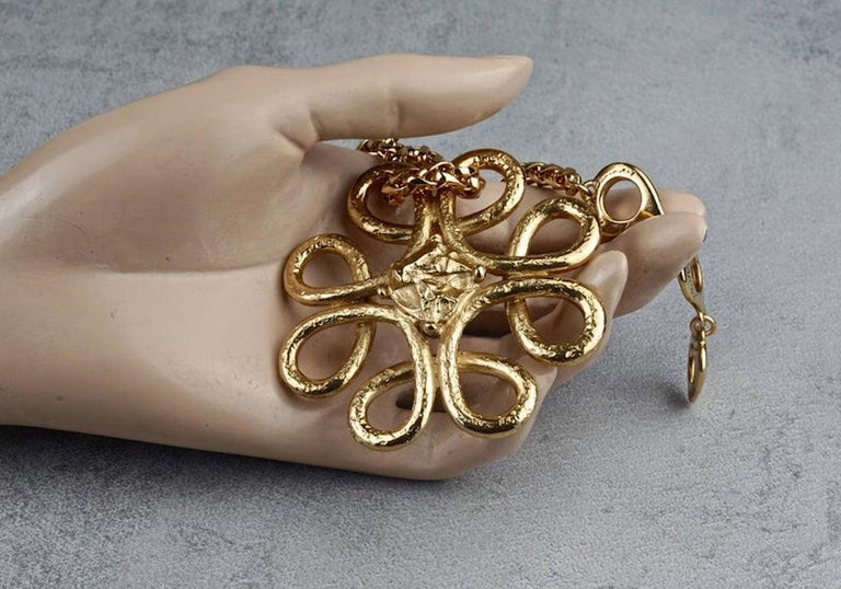 Vintage YVES SAINT LAURENT Ysl Swirl Nugget Necklace For Sale 2