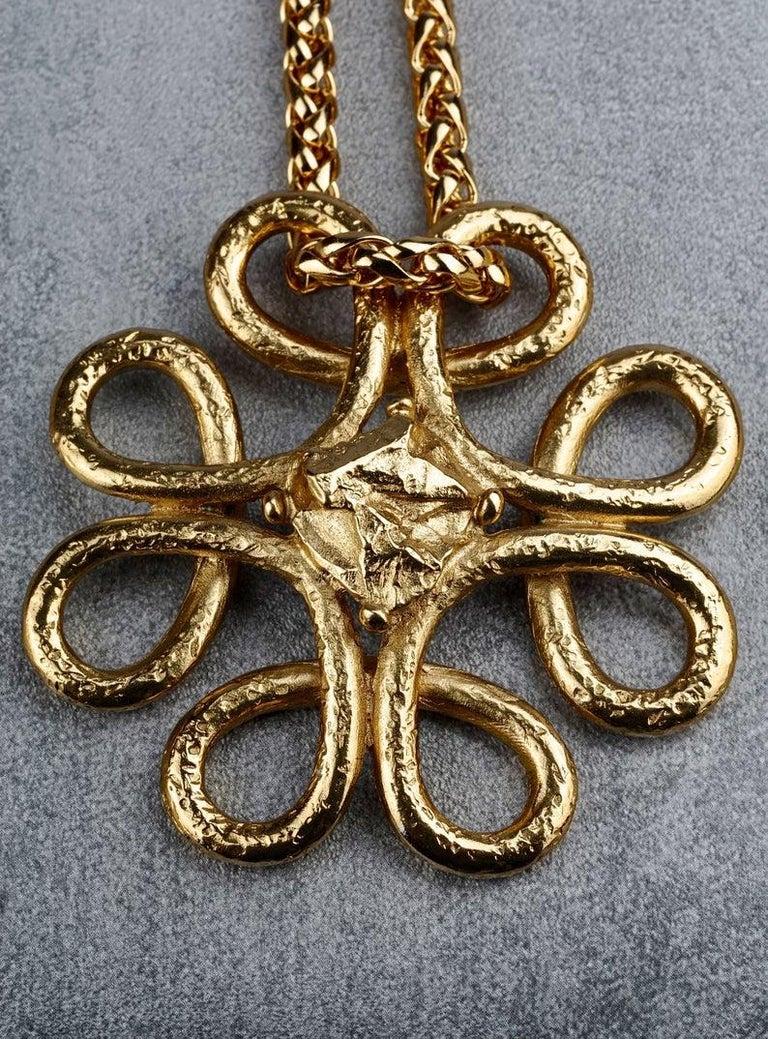 Vintage YVES SAINT LAURENT Ysl Swirl Nugget Necklace For Sale 3
