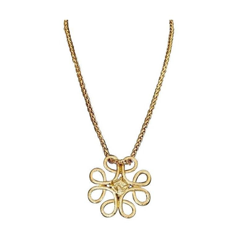 Vintage YVES SAINT LAURENT Ysl Swirl Nugget Necklace For Sale