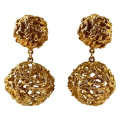Vintage YVES SAINT LAURENT Ysl Textured Coiled Ball Dangling Earrings
