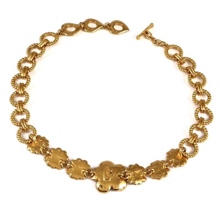 Vintage YVES SAINT LAURENT Ysl Textured Flower Chain Link Necklace For Sale 3