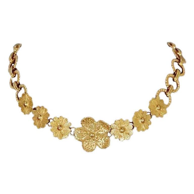 Vintage YVES SAINT LAURENT Ysl Textured Flower Chain Link Necklace For Sale