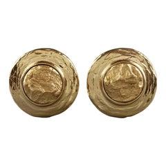Vintage YVES SAINT LAURENT Ysl Textured Nugget Disc Earrings